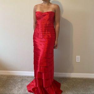 BCBG Max Adria Red Satin Dress | Floor Length